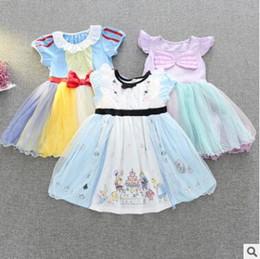 Wholesale American Alice - Cartoon Dress Alice Snow White Mermaid Princess Dress Girl Cartoon Birthday Party Dresses Baby Cotton Mermaid Shell Floral Tulle Dress 668