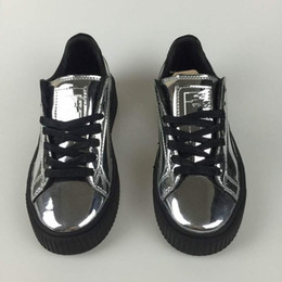Wholesale Mirrored Fabric - Whloesale cheap 2018 New arrival Mirror Rihanna x Suede Creepers Rihanna lover unisex casual women men shoes green black white sneakers