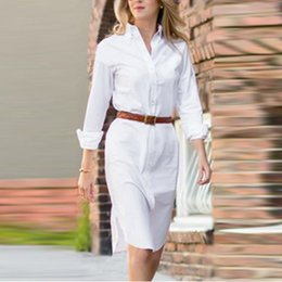 Wholesale Black Button Down Work Shirt - New Arrival Vestidos 2017 Women Summer Button Turn Down Collar Shirt Dress Solid Long Sleeve Mini Dresses Tops Plus Size