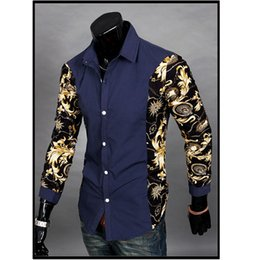 dress matching black man Coupons - NEW2017 Spring Autumn Dress Shirts Turn-down Patchwork Printing Fake Two Piece Men's Long Sleeve Shirt Color Matching Men Shirts