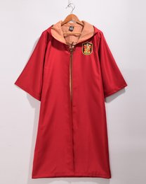 Wholesale Uniform Cloaks - 2 Colors Unisex Harry Potter Cosplay Cloak Quidditch Performance Gryffindor Slytherin Robe Sport Uniform Halloween Costume