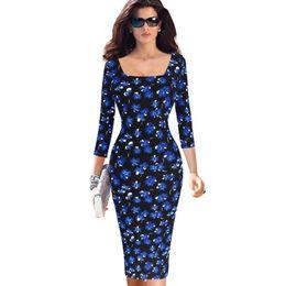 New Womens Elegante Abstrato Impressão Quadrado Pescoço Color Block Contraste Fino Primavera Clube Bodycon Bainha Vestido Ocasional cheap abstract printing dress de Fornecedores de vestido de impressão abstrata