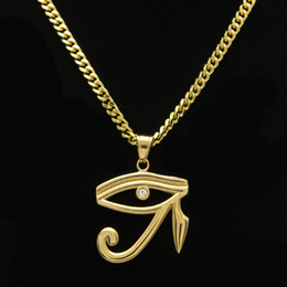 Wholesale Horus Eyes - Hip Hop Brand Jewelries The Eye of Horus Triangle Pendant Necklaces 18k Gold Plated Fashion Personalized Design HipHop Style
