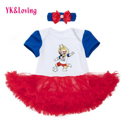 Wholesale Tutu Skirts For Newborns - Girls Cheerleader Tutu Dress Baby 2018 Soccer World Cup Russia Football Jersey Newborn Romper Clothes For Girl Tracksuit Clothing Tutu Skirt