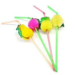 Wholesale Decoration Plastic Fruit - Fruit Garland Disposable Straws Multicolor Plastic Cocktail Drinking Straw for Bar Part BBQ Hawaiian Theme Decoration wen4356