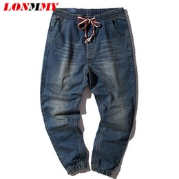 Wholesale Wholesale Mens Skinny Jeans - Wholesale- LONMMY M-4XL Harem pants Cotton Drawstring Slim skinny jeans men Small Bottom Casual trousers Retro style mens jeans 2017 New