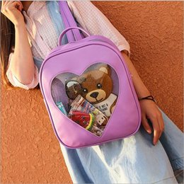 Wholesale Zipper Book - Summer Candy Transparent Love Heart Shape Backpacks Harajuku School Backpack Shoulder Bags For Teenager Girls Book bag 6 style YYA177