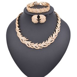Wholesale Indian Choker Necklace Set - ULEX Fashion Gold Color Trendy Jewelry Sets For Women Imitated Crystal Necklaces Earrings Bracelets Wedding Rings Fashion Choker