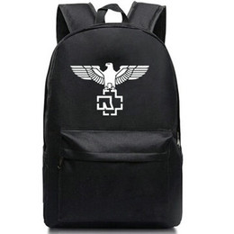 Wholesale Heavy Bag Women - Rammstein backpack Heavy metal band daypack Super star schoolbag Music rucksack Sport school bag Outdoor day pack