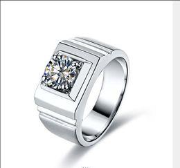Wholesale Men Diamond Ring Designs - The Newest Design International Man 1 Karat Sona Diamond Ring Sterling Silver Platinum Plated High-end Simulation Diamond Thickened &Widened