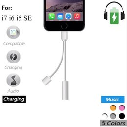 Wholesale Charging Plate - Metal Aluminum Plating Alloy 2 in 1 Iphone7 Earphone Adapter, Lighting charger port to Iphone7 6S Headphone 3.5mm AUX USB Charging Connector