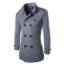 Wholesale Classic British Coats - Wholesale- 2016 British Style Warm Wool Coat Men Double Button Business Classic Black Grey Long Men Coat Autumn Winter Fashion Brand XXXL