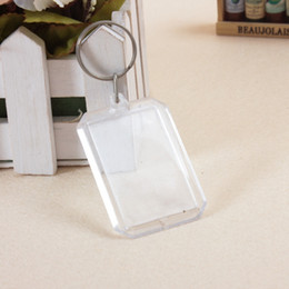 Wholesale Wedding Party Favor Keychains - Wholesale- 5PCS Hot Clear Picture Frame Key Ring Chain Transparent Blank Insert Photo Keychains Wedding Decoration