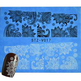 Wholesale Nail Sticker Black White - Wholesale-1Sheets 2016 Summer Designs Black&White Nail Art Flower Wraps Water Transfer Decals DIY Nail Sticker Polish Tools STZV017