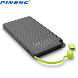 Wholesale external battery supply - PINENG 5000mAh Power Bank Built-in Charging Cable External Battery Pack Vibrating Switch USB Supply +B