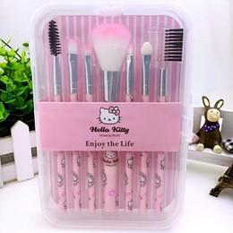 Sombra de ojos amarilla online-7 piezas de Hello Kitty Brushes Kit de pinceles de maquillaje de dibujos animados para sombras de ojos colorete en polvo pato amarillo maquillaje cepillo herramientas con caja