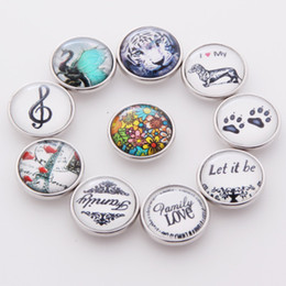 Wholesale Tiger Head Charms - 20PCS Mixed Tiger Head Dog Building Glass Snap Button For Ginger Snaps 18mm Button Bracelet Necklace Jewelry