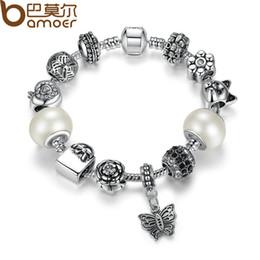 Wholesale White Gold Bangle Butterfly - Wholesale-BAMOER TOP Quality Friendship Bracelets amp Bangles with White Glass Bead Butterfly Female Bead Bracelet Jewelry PA1479