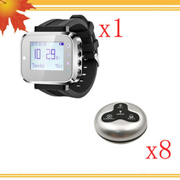 Wholesale Buttons Restaurant - Wireless Restaurant Pager Calling System Strong Signal 1 Watch Pager With 8 4Keys 100% Waterproof Button