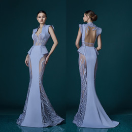Rote schiere sehen durch kleid online-Lavender Mermaid See-Through Evening Dress Art Deco-inspired Neck Appliques Stunning Red Carpet Celebrity Dress Sexy Prom Party Evening Gown