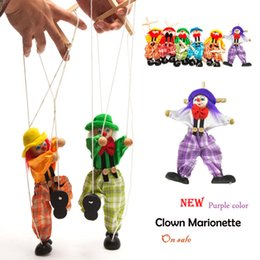 Wholesale Toys Clown Doll - Wholesale-Doll Marionette Puppet Baby toys clown Muppets Green Orange Hand Puppet Tell story shadow Funny Traditions Wooden Toy plush doll