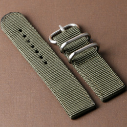Wholesale Fabric Clasps - Wholesale- Cool Green Canvas Wrist Watch Strap Band 20 22mm for Men Women Watches Bands Boy BD0135