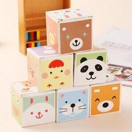 Wholesale Animal Paper Box - Wholesale- 5 pcs lot (5pcs=1 box) Cute Cartoon Animal Memo Pad Sticky Note Kawaii Paper Scrapbooking Sticker Pads Box Stationery 01838