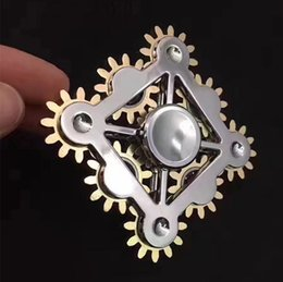 Wholesale Wheels Wholesale Prices - Factory price!! 9 GEAR Hand spinner fidget toy Black and Silver Machine with 9 Wheels EDC handspinner Gadget Gyro Decompression Anxiety Toy