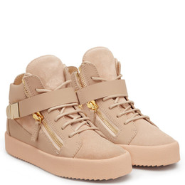 Wholesale Shoe Metal Pink - Classic fashion high quality Metal buckles zanottys fashion men and women sneakers,real leather high top casual shoes SIZE 36-46