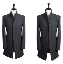 Wholesale Grey Mens Winter Dress Jacket - Wholesale- Stand collar grey casual long sleeve wool coat men 2016 trench jackets and coats mens wool coat overcoats dress winter S - 9XL