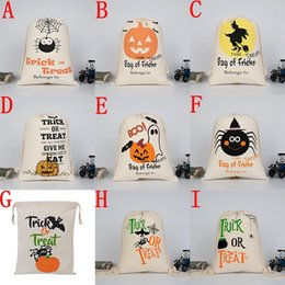 Wholesale Large Candy Decorations - 2017 New Halloween candy bag Large Canvas bags cotton Drawstring Bag With Pumpkin, devil, spider, Hallowmas Gifts Sack Bags 36*48cm