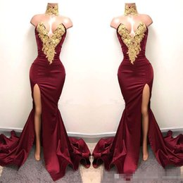 Wholesale God Piece - Real Image Burgundy Satin Mermaid Prom Party Dresses 2017 With God Lace Sexy Front Split Plus Size Formal Party For Evening Gowns Vestidos