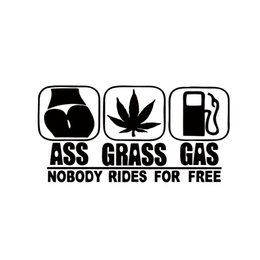 Wholesale Riding Cars - 2017 Hot Sale Car Stying Gas Grass Or Ass Nobody Rides For Free Car Truck Window Vinyl Decal JDM