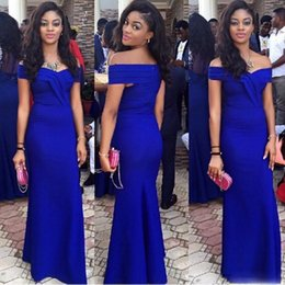 Wholesale Size Short Pageant Dresses - Royal Blue Satin Mermaid Evening Gowns Off Shoulder Cap Sleeves Trumpet Long Prom Formal Dresses Pageant Party Gown Cheap Vestidos