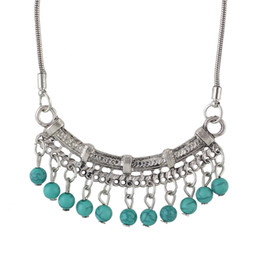 Wholesale Turquoise Tennis Necklace - Fanhua Indian Design Silver Color Hanging Turquoise Beads Necklaces