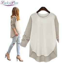Wholesale T Shirt Donna Fashion - Wholesale-Plus Size 5XL T Shirt Women Autumn Long Sleeve Womens Tops Fashion 2015 Striped O-Neck Camisetas Mujer Solid Abbigliamento Donna
