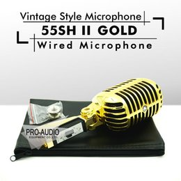 Wholesale Dynamic Vocal Microphone - Free Shipping! Gold Color Export Version 55SH II Dynamic Microphone Vocal 55SH2 Classical Vintage Style Microfone 55SH Series II