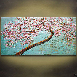 "Wholesale Oil Painting Single Flowers - modern Asia abstract art Oil Painting ""Pink flowers""wall decor canvas NO frame"