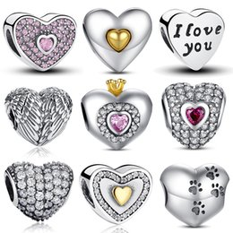 Wholesale Original Love Bracelet - 100% Authentic 925 Sterling Silver Heart Shape Charm Beads Fit Pandora Charm Bracelet DIY Original Silver Jewelry