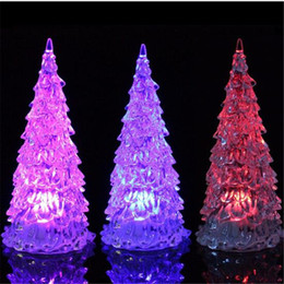 Wholesale Christmas Ornaments Light Colors - LED Christmas Tree Light 7 Colors Flashing Crystle Xmas Tree Nightlight Lamp Outdoor Indoor Christmas Lights Decorations Ornaments DHL free