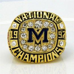 Wholesale Custom 18k Gold Ring - high quality 1997 Football National michigan Championship Ring custom Big Size 11,18k gold men replica ring Sport Jewelry