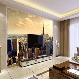 Wholesale Building Murals - Custom Mural Wallpaper Modern City Building Scenery Living Room Sofa TV Background Wall Painting Photography Photo Wallpaper 3D