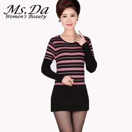 Wholesale Knitted Tunic Dress - Wholesale- 2016 New Winter Warm Women Striped Bodycon Sweater Dress Women Knitwear Tunic Casual Vintage Sexy Dress Pullover Robe Pull Femme