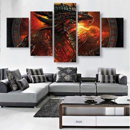 Wholesale Traditional Dragon Paintings - 5 Panels Unframed Canvas Wall Art Red Dragon Picture Modern Home Decor Livingroom Bedroom