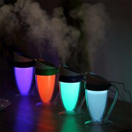 Wholesale Mini Abs Light - NEW Luminous Cup USB Mini Ultrasonic Humidifier DC 5V ABS+PP LED Light Air Purifier Atomizer Mist Maker