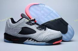 Wholesale Wrestling Shoes Mens Size 13 - Wholesale 2017 Cheap New Air Retro 5 Mens Basketball Shoes Sneakers 5s low Neymar space 3m reflective effect Cement grey men shoe Size 8-13
