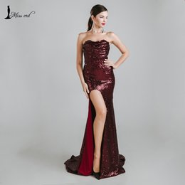 Wholesale Maxi Bra Dress - Wholesale- Missord 2017 Sexy sleeveless halter bra split party dress sequin maxi dress FT4785