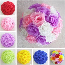 "Wholesale Cm Themes - Romantic Classic Theme Wedding Decor Kissing Balls Hanging Ornament Artificial Rose Flower Ball 20 cm 8"" Hot Sale"