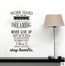 Wholesale Wall Size Chalkboard - Wall Decals Quotes Work Hard Inspiring Wall Sticker Office Home Living Room Decoration Wall Art Size 100x56cm 488