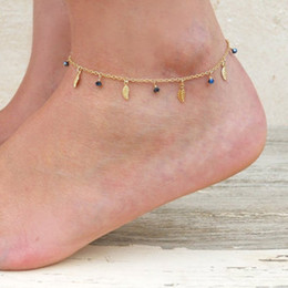Wholesale Bead Barefoot Sandals - Boho Chic Vintage Gold Silver Color Chain Blue Leaf Charm Beads Anklets Beach Barefoot Sandals Foot Jewelry Anklets